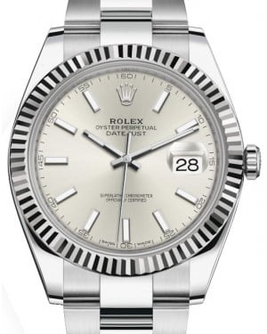 Rolex Datejust 41 White Gold/Steel Silver Index Dial Fluted Bezel Oyster Bracelet 126334 - BRAND NEW