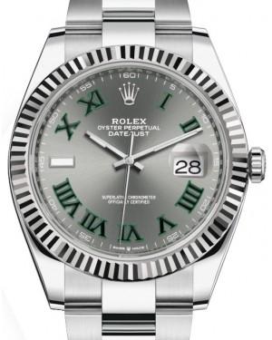 Rolex Datejust 41 White Gold/Steel Slate Roman Dial Fluted Bezel Oyster Bracelet 126334 - BRAND NEW