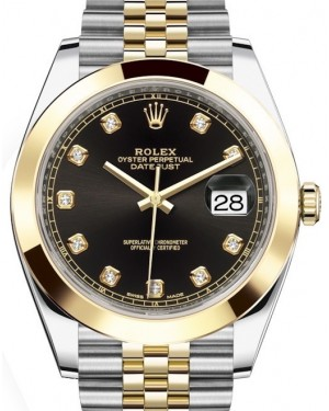 Rolex Datejust 41 Yellow Gold/Steel Black Diamond Dial Smooth Bezel Jubilee Bracelet 126303 - BRAND NEW