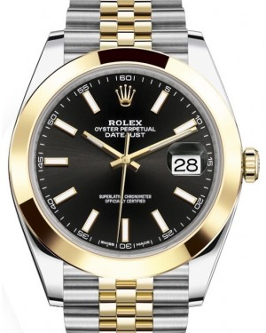 Rolex Datejust 41 Yellow Gold/Steel Black Index Dial Smooth Bezel Jubilee Bracelet 126303 - BRAND NEW