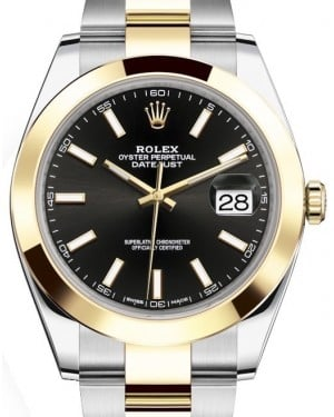 Rolex Datejust 41 Yellow Gold/Steel Black Index Dial Smooth Bezel Oyster Bracelet 126303 - BRAND NEW