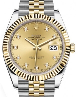 Rolex Datejust 41 Yellow Gold/Steel Champagne Diamond Dial Fluted Bezel Jubilee Bracelet 126333 - BRAND NEW