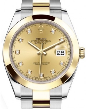 Rolex Datejust 41 Yellow Gold/Steel Champagne Diamond Dial Smooth Bezel Oyster Bracelet 126303 - BRAND NEW