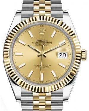 Rolex Datejust 41 Yellow Gold/Steel Champagne Index Dial Fluted Bezel Jubilee Bracelet 126333 - BRAND NEW
