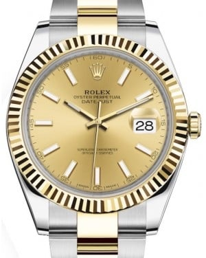 Rolex Datejust 41 Yellow Gold/Steel Champagne Index Dial Fluted Bezel Oyster Bracelet 126333 - BRAND NEW