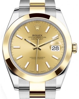 Rolex Datejust 41 Yellow Gold/Steel Champagne Index Dial Smooth Bezel Oyster Bracelet 126303 - BRAND NEW