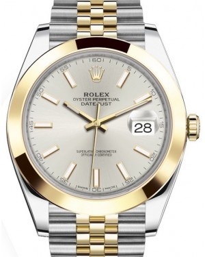 Rolex Datejust 41 Yellow Gold/Steel Silver Index Dial Smooth Bezel Jubilee Bracelet 126303 - BRAND NEW