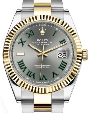 Rolex Datejust 41 Yellow Gold/Steel Slate Roman Dial Fluted Bezel Oyster Bracelet 126333 - BRAND NEW