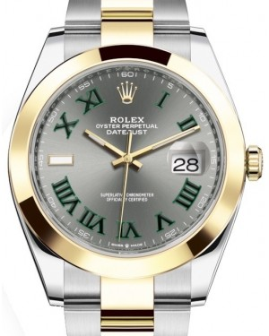 Rolex Datejust 41 Yellow Gold/Steel Slate Roman Dial Smooth Bezel Oyster Bracelet 126303 - BRAND NEW