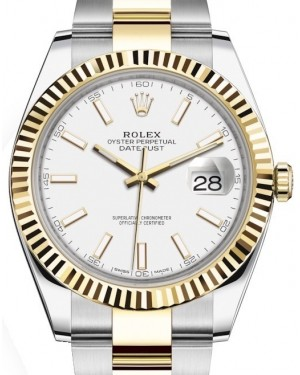 Rolex Datejust 41 Yellow Gold/Steel White Index Dial Fluted Bezel Oyster Bracelet 126333 - BRAND NEW