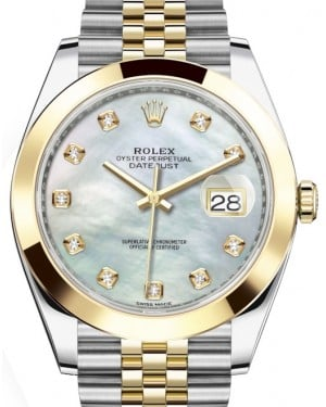 Rolex Datejust 41 Yellow Gold/Steel White Mother of Pearl Diamond Dial Smooth Bezel Jubilee Bracelet 126303 - BRAND NEW