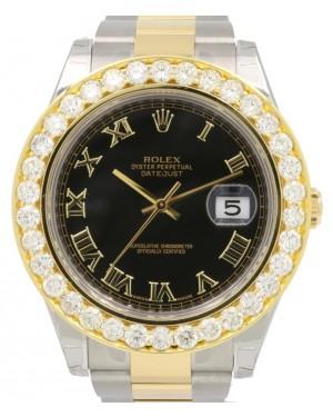 Rolex Datejust II 116333 Black Roman Diamond Bezel Yellow Gold Stainless Steel Oyster Date BRAND NEW