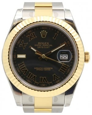 Rolex Datejust II 116333 Black Roman Index 9 41mm Yellow Gold Stainless Steel - BRAND NEW