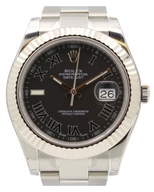 Rolex Datejust II 116334 Stainless Steel Black Roman Fluted White Gold Bezel & Oyster Bracelet - BRAND NEW