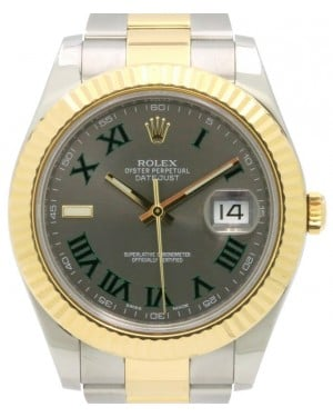 Rolex Datejust II Yellow Gold/Steel Slate Roman Dial & Fluted Bezel Oyster Bracelet 116333 - PRE-OWNED