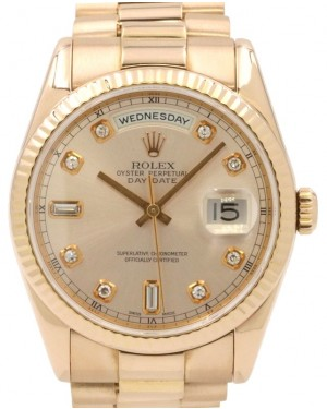 Rolex Day-Date 36 Rose Gold Sundust Diamond Dial & Fluted Bezel President Bracelet 118235 - PRE-OWNED