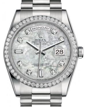 Rolex Day-Date 36 Platinum White Mother of Pearl Diamond Dial & Diamond Bezel President Bracelet 118346 - BRAND NEW