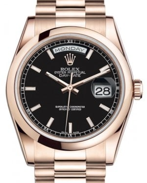 Rolex Day-Date 36 Rose Gold Black Index Dial & Smooth Domed Bezel President Bracelet 118205 - BRAND NEW