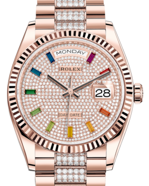 Rolex Day-Date 36 Rose Gold Diamond Paved Rainbow Colored Sapphires Dial & Fluted Bezel Diamond Set President Bracelet 128235 - BRAND NEW