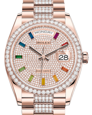 Rolex Day-Date 36 Rose Gold Diamond Paved Rainbow Colored Sapphires Dial & Diamond Bezel Diamond Set President Bracelet 128235RBR - BRAND NEW