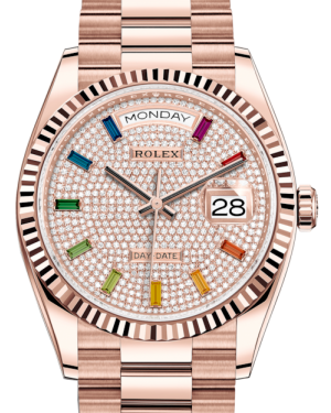 Rolex Day-Date 36 Rose Gold Diamond Paved Rainbow Colored Sapphires Dial & Fluted Bezel President Bracelet 128235 - BRAND NEW