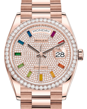 Rolex Day-Date 36 Rose Gold Diamond Paved Rainbow Colored Sapphires Dial & Diamond Bezel President Bracelet 128235RBR - BRAND NEW