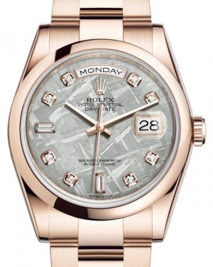 Rolex Day-Date 36 Rose Gold Meteorite Diamond Dial & Smooth Domed Bezel Oyster Bracelet 118205 - BRAND NEW