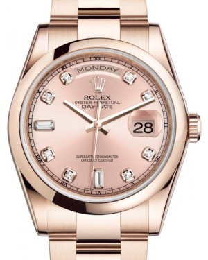 Rolex Day-Date 36 Rose Gold Pink Diamond Dial & Smooth Domed Bezel Oyster Bracelet 118205 - BRAND NEW