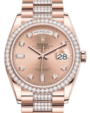 Rolex Day-Date 36 Rose Gold Rose Diamond Dial & Diamond Bezel Diamond Set President Bracelet 128235RBR - BRAND NEW