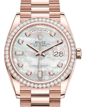 Rolex Day-Date 36 Rose Gold White Mother of Pearl Diamond Dial & Diamond Bezel President Bracelet 128235RBR - BRAND NEW