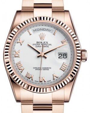 Rolex Day-Date 36 Rose Gold White Roman Dial & Fluted Bezel Oyster Bracelet Spanish Day 118235 - BRAND NEW