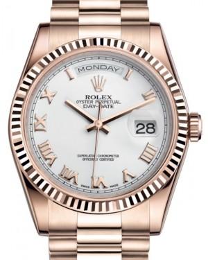 Rolex Day-Date 36 Rose Gold White Roman Dial & Fluted Bezel President Bracelet 118235 - BRAND NEW