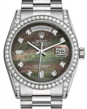 Rolex Day-Date 36 White Gold Black Mother of Pearl Diamond Dial & Diamond Set Case & Bezel President Bracelet 118389 - BRAND NEW