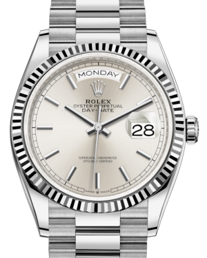 Rolex Day-Date 36 White Gold Silver Index Dial & Fluted Bezel President Bracelet 128239 - BRAND NEW