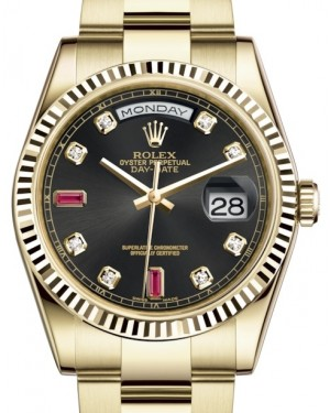Rolex Day-Date 36 Yellow Gold Black Diamond & Rubies Dial & Fluted Bezel Oyster Bracelet 118238 - BRAND NEW