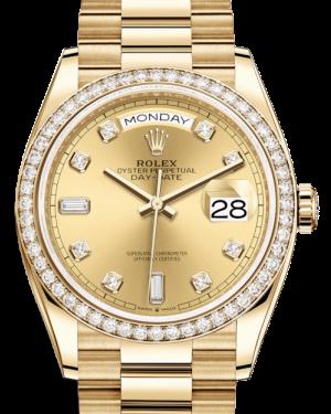 Rolex Day-Date 36 Yellow Gold Champagne Diamond Dial & Diamond Bezel President Bracelet 128348RBR - BRAND NEW