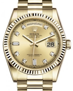 Rolex Day-Date 36 Yellow Gold Champagne Diamond Dial & Fluted Bezel President Bracelet 118238 - BRAND NEW
