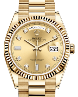 Rolex Day-Date 36 Yellow Gold Champagne Diamond Dial & Fluted Bezel President Bracelet 128238 - BRAND NEW
