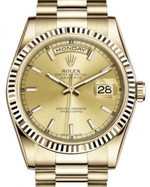 Rolex Day-Date 36 Yellow Gold Champagne Index Dial & Fluted Bezel President Bracelet 118238 - BRAND NEW