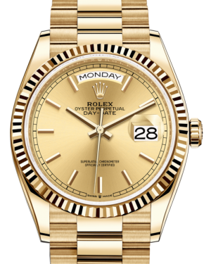 Rolex Day-Date 36 Yellow Gold Champagne Index Dial & Fluted Bezel President Bracelet 128238 - BRAND NEW