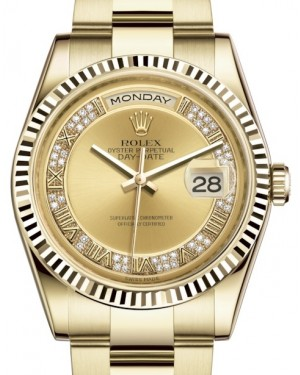 Rolex Day-Date 36 Yellow Gold Champagne Set with Diamonds Roman Dial & Fluted Bezel Oyster Bracelet 118238 - BRAND NEW