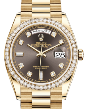 Rolex Day-Date 36 Yellow Gold Dark Grey Diamond Dial & Diamond Bezel President Bracelet 128348RBR - BRAND NEW