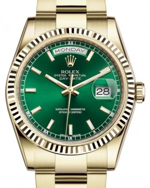 Rolex Day-Date 36 Yellow Gold Green Index Dial & Fluted Bezel Oyster Bracelet 118238 - BRAND NEW