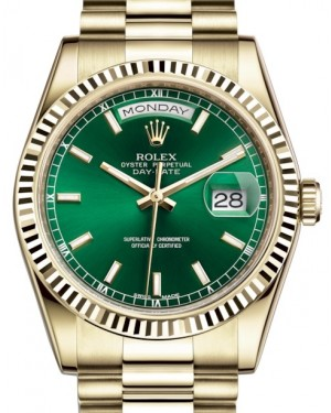 Rolex Day-Date 36 Yellow Gold Green Index Dial & Fluted Bezel President Bracelet 118238 - BRAND NEW