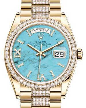 Rolex Day-Date 36 Yellow Gold Turquoise Diamond Dial & Diamond Bezel Diamond Set President Bracelet 128348RBR - BRAND NEW
