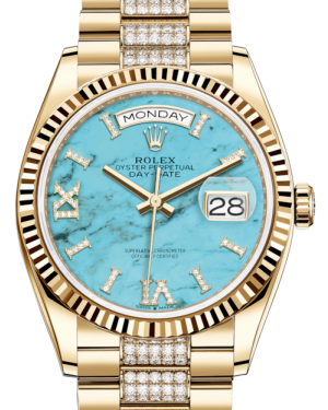Rolex Day-Date 36 Yellow Gold Turquoise Diamond Dial & Fluted Bezel Diamond Set President Bracelet 128238 - BRAND NEW