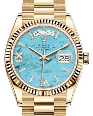 Rolex Day-Date 36 Yellow Gold Turquoise Diamond Dial & Fluted Bezel President Bracelet 128238 - BRAND NEW