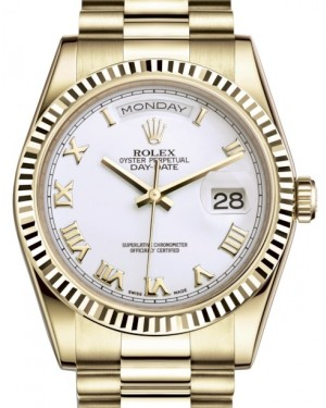 Rolex Day-Date 36 Yellow Gold White Roman Dial & Fluted Bezel President Bracelet 118238 - BRAND NEW