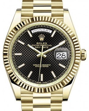 Rolex Day-Date 40 Yellow Gold Black Diagonal Motif Index Dial & Fluted Bezel President Bracelet 228238 - BRAND NEW