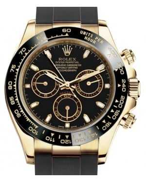 Rolex Daytona Yellow Gold Black Index Dial Ceramic Bezel Oysterflex Rubber Bracelet 116518LN - BRAND NEW